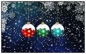 Picture Winter, Minimalism, Snow, Christmas, Balls, Snowflakes, Background, New year, Holiday, Toys