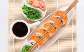 Picture fish, sauce, rolls