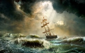 Wallpaper wave, storm, element, ship, Storm, roll, Mr Menuhin