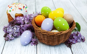 Wallpaper lilac, decoration, lilac, Easter, Easter, glaze, eggs, cakes, flowers, cake, the painted eggs, Happy, spring, ...