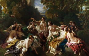 Wallpaper Franz Xaver Winterhalter, picture, Franz Xaver Winterhalter, Florinda, erotic, mythology