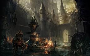 Picture castle, sword, warrior, architecture, Dark Souls-III