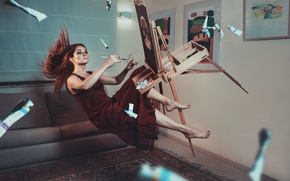 Picture girl, paint, pictures, brush, easel, levitation