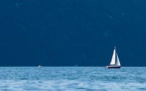 Picture mountains, lake, sail
