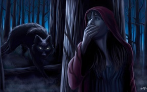 Picture forest, girl, wolf, tale, little red riding hood, art, Illustration, Samuel Shin