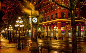 Picture street, the building, watch, Canada, lights, Vancouver, Canada, night city, British Columbia, Vancouver, British Columbia