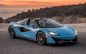 Picture sunset, McLaren, supercar, 2018, Spider, 570S