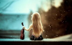 Wallpaper Serenade of snow, doll, violin