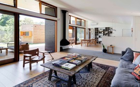 Picture interior, kitchen, fireplace, terrace, living room, dining room, Somers House One