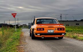 Picture Auto, Machine, Orange, Nissan, Nissan, Lights, Car, 2000, Skyline, Nissan Skyline, 1972, 2000GT, Japanese, Back, …