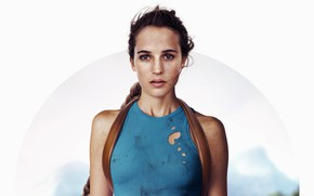Wallpaper Alicia Vikander, Alicia Vikander, white background, Tomb Raider, Lara Croft, poster