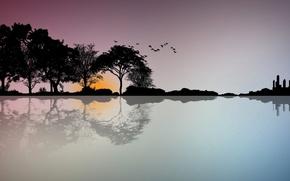 Picture trees, landscape, sunset, birds, vector, silhouette