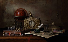 Wallpaper pen, watch, key, chess, figurine, still life, globe, ink