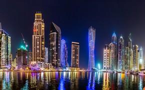 Picture river, night lights, skyscraper, Night, The city, Dubai