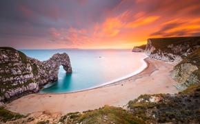 Wallpaper beach, sea, sunset, rocks, shore, nature landscape