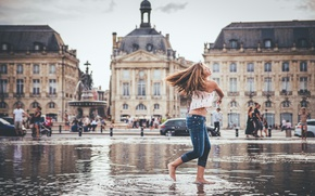 Wallpaper The stock exchange square, Square-a fountain Water Mirror, mood, girl, water, the city, France, Bordeaux