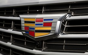 Wallpaper Cadillac, logo, camera, before, emblem, Cadillac, grille