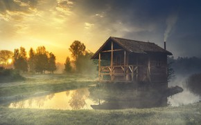 Picture Nature, Fog, Smoke, River, House