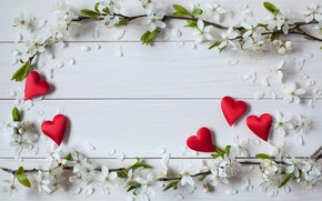 Wallpaper flowers, hearts, Valentine's day, holiday