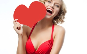 Picture girl, holiday, red, heart, laughter, dress, neckline, Heart, Valentines Day
