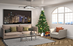 Wallpaper design, tree, pillow, New Year, sofa, interior, chandelier