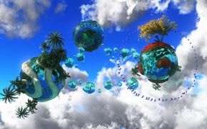 Picture the sky, water, clouds, fantasy, tree, bird, the world, planet, child, book, sphere