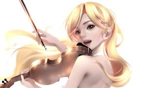 Picture look, girl, violin, anime, art, Shigatsu wa Kimi no Uso, Your April lie
