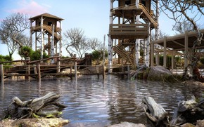 Picture pond, driftwood, the tower, BRIDGES & PONDS, VIEWING DECKS