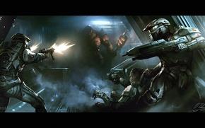 Picture fiction, corridor, machine, alien, armor, fight, halo, Halo Wars