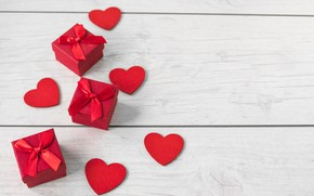 Wallpaper heart, love, wood, valentine's day, box, tape, hearts, holiday, gifts, red
