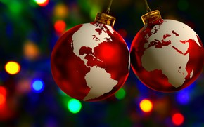 Picture balls, decoration, holiday, toys, planet, Christmas, continents