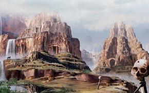 Picture mountains, rocks, skull, rider, Zone Interdite