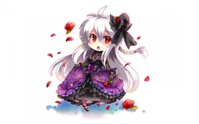 Picture petals, white background, hat, bow, Chibi, pigtail, ruffles, red roses, Lolly, crinoline, long white hair