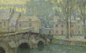 Picture Henri Le Sidane, picture, bridge, winter, home, Chartres in Snow, the urban landscape, Henry Le …