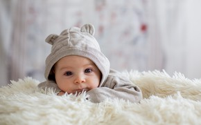 Picture boy, baby, bed, blanket