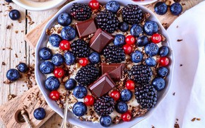 Picture berries, chocolate, BlackBerry, blueberries, oatmeal