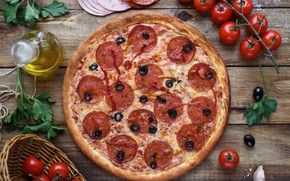 Picture oil, meat, pizza, tomato, olives