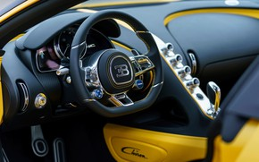 Wallpaper Chiron, 2018, salon, Bugatti, Yellow and Black