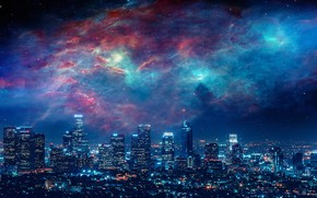 Picture City, Sky, Beautiful, Stars, Space, Art, Galaxies, Landscape, Galaxy, Urban, Night, Los Angeles, Deviantart, Paint, …
