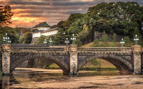 Wallpaper sunset, clouds, river, lights, Tokyo, Palace, the evening, Japan, trees, Nijubashi Bridge, Imperial Palace, the ...