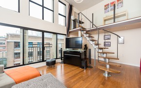 Picture the city, interior, ladder, penthouse, living room