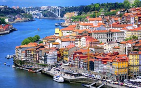 Picture trees, bridge, river, home, Portugal, the view from the top, Port
