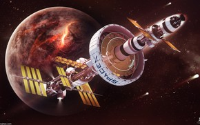 Picture space, planet, Spaceship concept