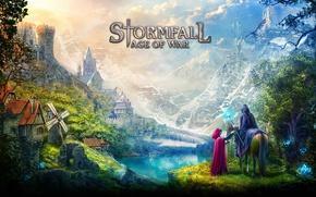 Wallpaper montain, castle, mahou, village, Storm case, Stormfall: Age Of War, game, dragon, hood, vegetation