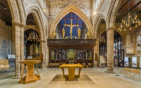 Wallpaper interior, Wakefield Cathedral Rood Screen, West Yorkshire, UK