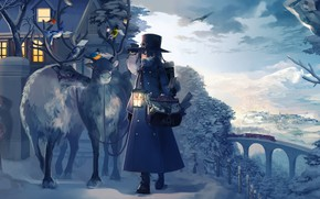 Picture house, Winter, animals, landscape, anime, snow, birds, train, artwork, reindeer, children, cold, lantern, postman