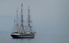 Picture sea, France, ship, sailboat, haze, Antibes