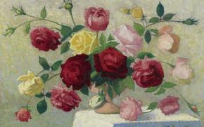 Picture flowers, picture, still life, Achille Lauge, A Bouquet Of Roses, Achilles Box