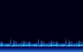 Wallpaper Minimalism, Blue, The city, Background, Pixels, 8bit, Electronic, 8bit, 8 bit, bit, Synth, Retrowave, Sinti, ...
