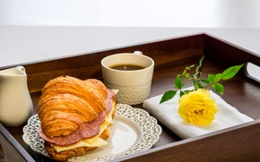 Picture flower, yellow, rose, coffee, Breakfast, cheese, plate, Cup, tray, sandwich, sausage, bokeh, sandwich, croissant, swipe